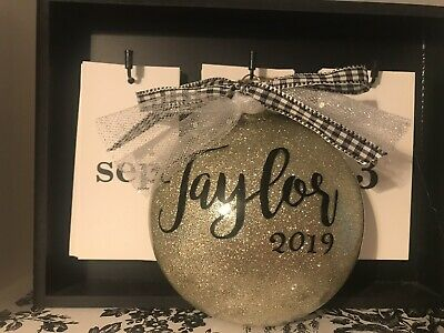 Farmhouse Rae dunn Inspired Christmas Ornament Personalized Gold Glitter