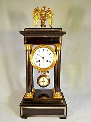 "19c Ebonized ""Portico Clock"" Brass Inlaid By ""S. Marti"" Working Order."