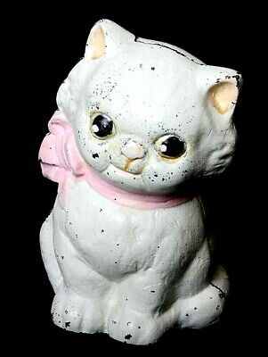 1930's Vintage Hubley Cast Iron Cat Bank w/t Pink Bow