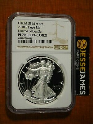 2018 S Proof Silver Eagle Ngc Pf70 Ultra Cameo From Limited Edition Proof Set
