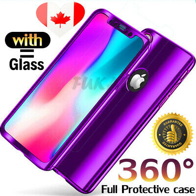 360 Plated Mirror Case For iPhone X XS Max 8 Plus Full Cover & Screen Protector