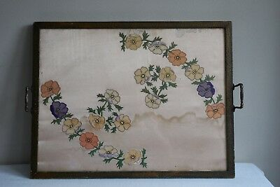 Antique 1920's Beaten Metal Surround Silk Applique Floral Breakfast Serving Tray