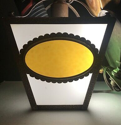 Vintage Arts & Crafts Porch/Hallway Light Sconce Multicolor Stained Glass Panels