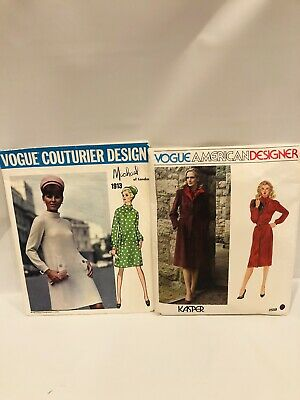 Set 1960s VTG VOGUE COUTURIER DESIGN PATTERN 1913 Michael Of London SIZE 12