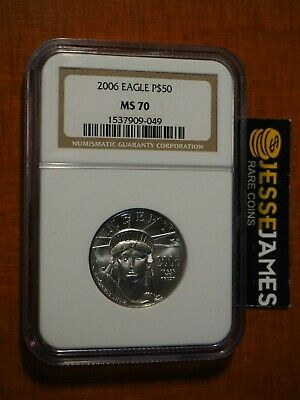 2006 $50 Platinum Eagle Ngc Ms70 Classic Brown Label 1/2 Oz .9995 Fine