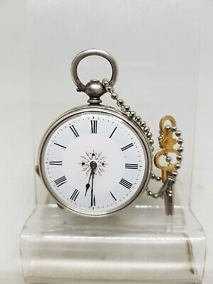 Antique solid silver ladies pocket watch c1900 working ref717