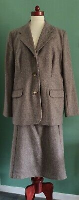 Vintage 40s Wartime WW2 Style Brown Two Piece Wool Skirt Suit UK 20