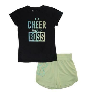 Under Armour Girls S/S Cheer Like A Boss Dry Fit Top 2pc Short Set Size 5