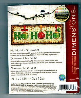 REDUCED!! Ho Ho Ho Ornament Dimensions Counted Cross Stitch Kit Christmas