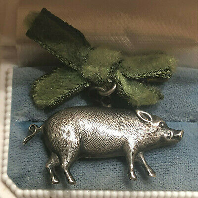 Antique Vintage Silver Color Pig Boar Pin Pendant  or Charm for Bracelet