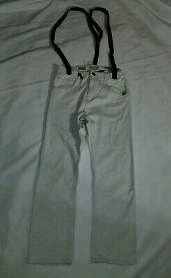 Zara Boys Jeans With Susperders Size 11-12 Off White