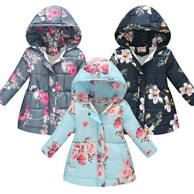 Toddler Floral Hooded Winter Warm Kids Baby Girls Boys Hooded Windproof Coat