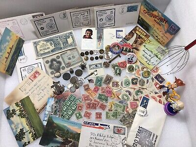 Vintage Junk Drawer Lot ~ Stamps Space Coins Toys Post Cards Old Buttons Bargain