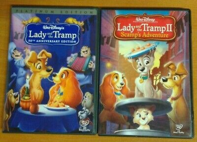 DISNEY Lady & The Tramp 1 + 2 Scamp's Adventure ~ Authentic DVD SET No scratches