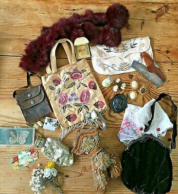 Antique/Vintage Ladies Junk Drawer Lot Beaded Mesh Cameos Leather Jewelry Fur >
