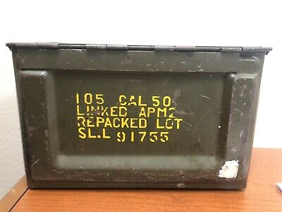WWII US Army 50 CAL. M2 Steel AMMO BOX by UNITED 105 CAL. 50