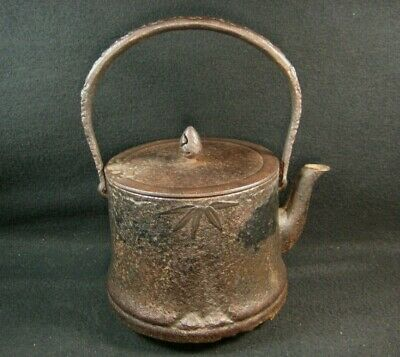 Vintage Japanese Showa Era Signed Cast Iron Tea  Pot Tetsubin Bamboo