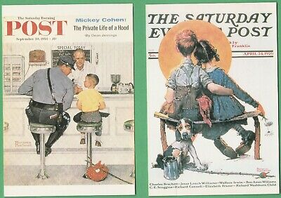 2  Postcard type ArtCards Norman Rockwell Sat Eve Post Covers - unused