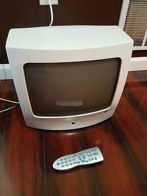 "GE 13"" White Color TV Television with Remote and Original Box 13GP344"