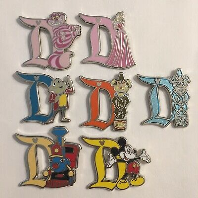 Disney Pin Disneyland D Characters Complete Set Of 7 2019 DLR Hidden Mickey