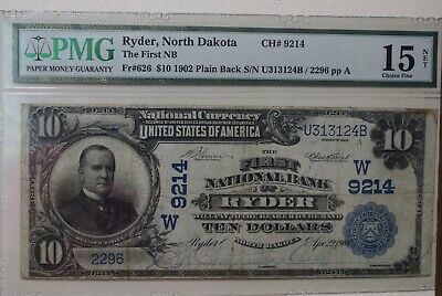 1902 $10 First National Bank Of Ryder, Nd National Currency Ch #9214 Pmg, Rare!
