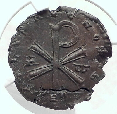 POEMENIUS Revolt in name of Constantius CHI-RHO NGC Certified Roman Coin i80522