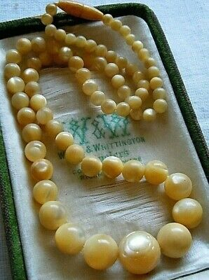 Antique Luminous Natural Mother of Pearl Bead Necklace, Estate Lot