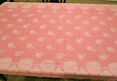 Pink with White Flowers Vintage Linen Tablecloth