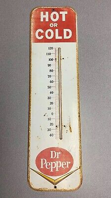 """Vintage 1950s Dr. Pepper 27"""" Litho Metal Thermometer Advertising Soda Cola Sign"""