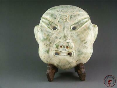 Very Large Fine Old Chinese Nephrite Celadon Jade Carved Face Statue w/ Stand