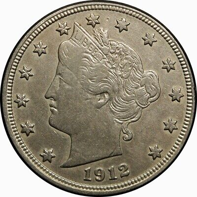 """1912-D 5c Liberty """"V"""" Nickel XF rare old type coin money"""
