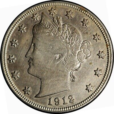 """1912-S 5c Liberty """"V"""" Nickel XF-AU detail rare old type coin money"""