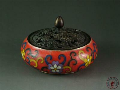 Old Chinese Copper Enamel Incense Burner/Incenser ~ BEAUTIFUL FLOWERS ON SURFACE