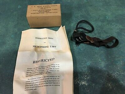 U.S. ARMY SIGNAL CORPS Shure T-30-V throat microphone with box and instructions