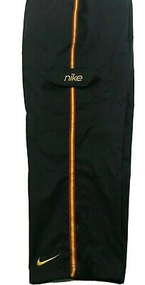 Vintage Nike Track Pants 100% Nylon Black Size Youth Large 14-16