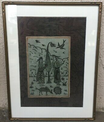 Antique Indo / Persian  Original Watercolor Ink Painting On Pigment Paper.19Th C