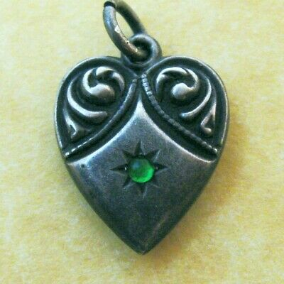 Vintage Sterling Silver Puffy Heart Charm Green Stone Engraved Initials GLV
