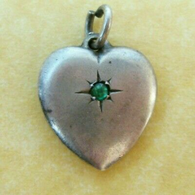 Vintage Sterling Silver Puffy Heart Charm Green Stone Engraved Initials JC