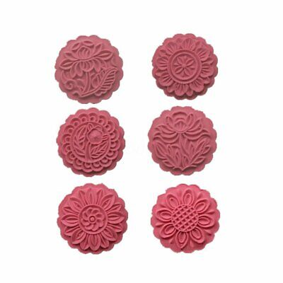 150g 6 Flower Stamps Mooncake Mold DIY Round Moon Cake Mould Baking Decor   A