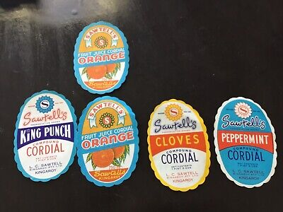 Vintage Sawtell's Soft Drink Labels. Ultra Rare New Old Stock.