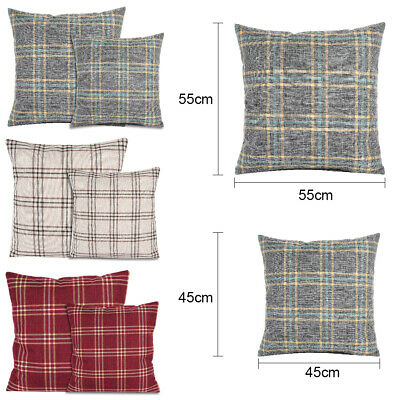 "Check Cushion Cover Luxury Cotton Tartan Cushion Covers 18"" x 18"" or 22"" x 22"""
