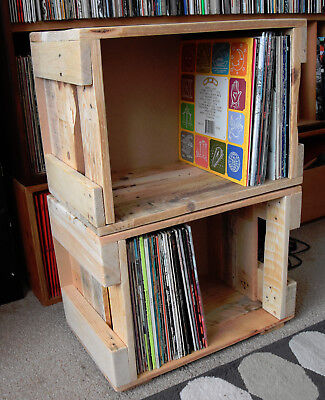 """Upcycled Repurposed 12"""" Vinyl Record Storage Box Crate Holds 100 LPs Stackable"""