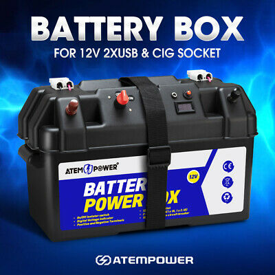 ATEM POWER Battery Box 12V Camping Portable Deep Cycle AGM Universal Large