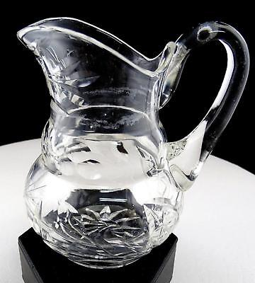 """Brilliant Cut Crystal Flower And Thumbprint Applied Handle 5"""" Cream Pitcher"""