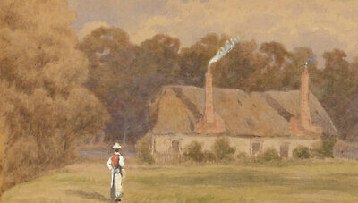 Late 19th Century Watercolour - Country Cottage with Figure