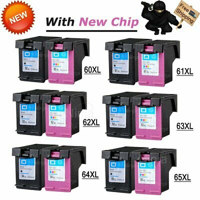 Ink Cartridge Black & Color For HP 60XL 61XL 62XL 63XL 64XL 65XL With New Chip