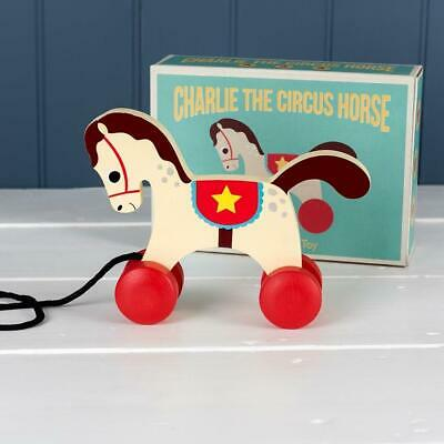 NEW Rex London Wooden Pull Along Carousel Circus Horse - Baby Pull Toy