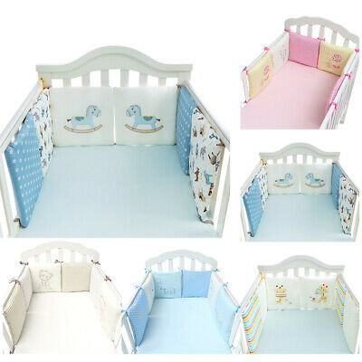 6Pcs Baby Newborn Bedding Crib Bumper Bed Cot Safety Protector Cushion Nursery