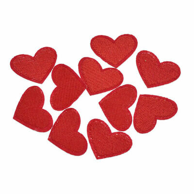 10 Pcs Embroidery Red Heart Patches Sew On Badge DIY Sewing Supplies Gifts