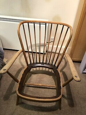 Vintage ERCOL WINDSOR Solid Elm & Beech Low Grandfather Chair